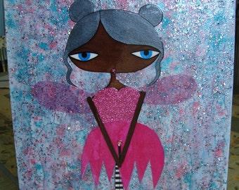 11 x 14 inch Mixed Media Original Painting - Magenta Love Fairy