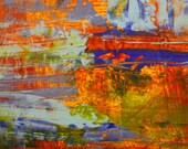 """Abstract Acrylic Monotype Painting ... 5"""" x 7"""""""