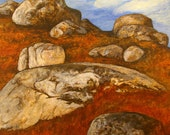 """Landscape Painting of Whalesback Rocks   12"""" x 12"""""""