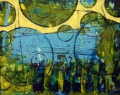 "Abstract Art Acrylic Monoprint Painting ... 5"" x 7"""