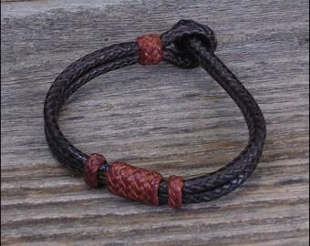 Braided Kangaroo Lace Leather Bracelet