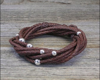 Entangle -- Womens Braided Leather Bracelet with Silver Beads