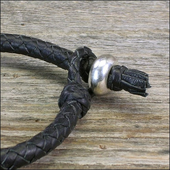 The Thinner Gaucho Braid Leather Bracelet with Silver Bead