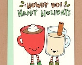 Cowboy Cocoa and Eggnog Holiday Card