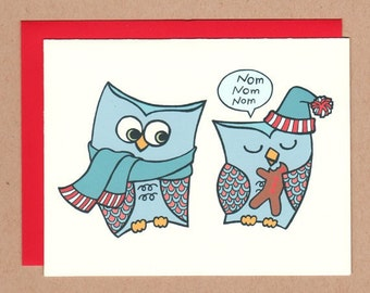 Holiday Owls Chompin on Cookies Card