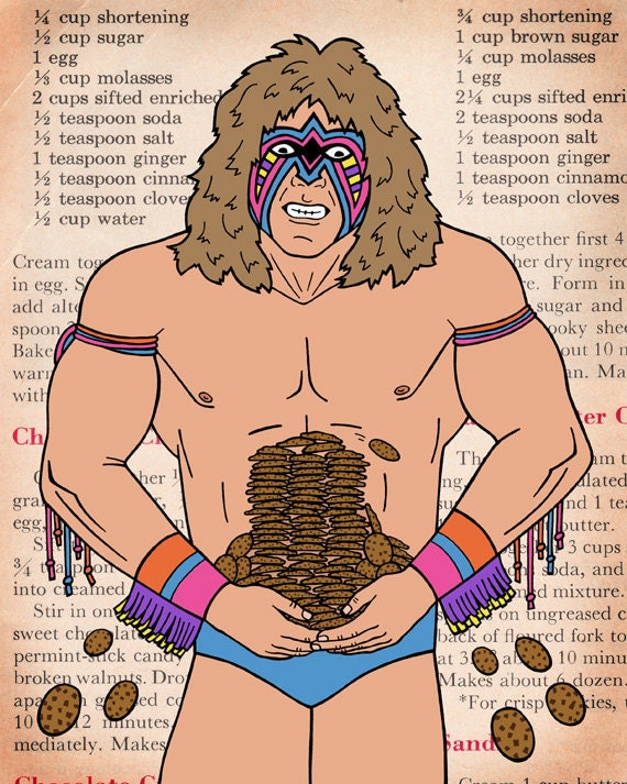 Ultimate Warrior with heaps of cookies