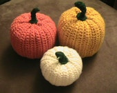 Crochet Stuffed Pumpkin Trio