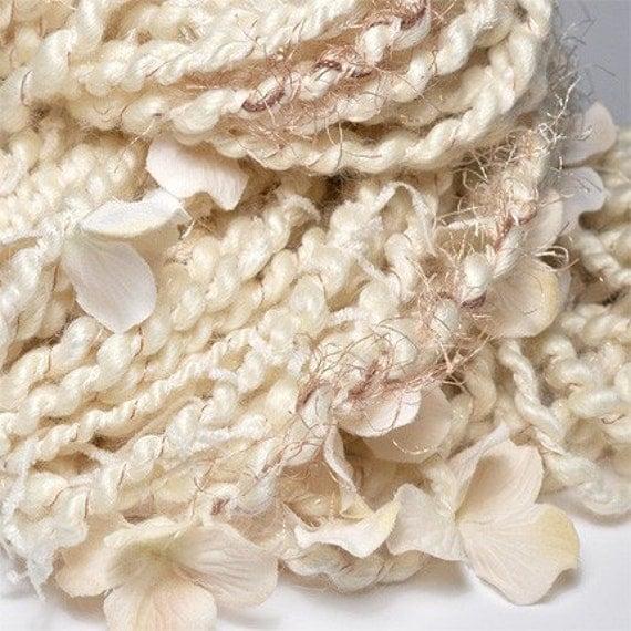 RESERVED the dress redux -- plied frizzlicious handspun artyarn 55 yards (BFL, soy, novelty snippets, swarovski crystals, silk flowers)