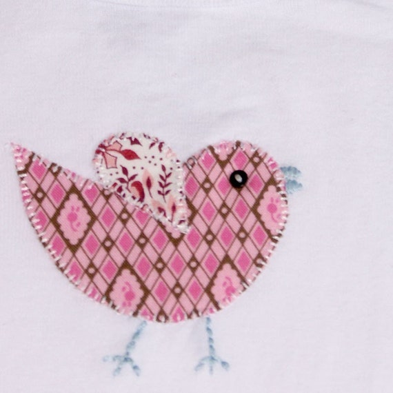 LITTLE PEEP Baby Onsie with Vintage Bird Hand Embroidery CUSTOM SIZE