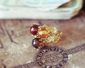 Vintage earth tone jewel cocktail ring on gold plated heart filigree ring - salvaged bauble costume jewelry - Amber Waves