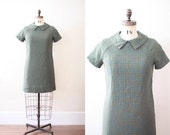 Wool tweed 1970's dress in olive green and blue - short sleeved with collar