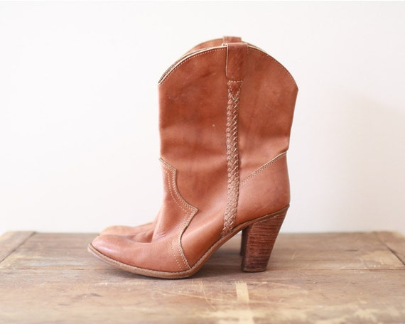 1970's caramel leather cowboy boots - Cowgirl Women 8.5 - 8 1/2 - made in Romania