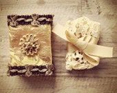 SALE Altered vintage matchbox with a delicate gold bell and leaves garland inside