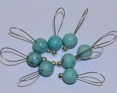 Knitting Stitch Markers, SnagFree Dyed Larimar Blue Stone Stitch Markers Set of 8 Small with Silver Loop