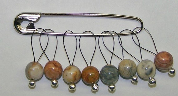 Knitting Stitch Markers, SnagFree Crazy Lace Set of 8 Medium Loop