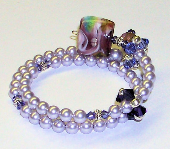 Lavender Fields Row Counter Bracelet for Knitting or Crochet