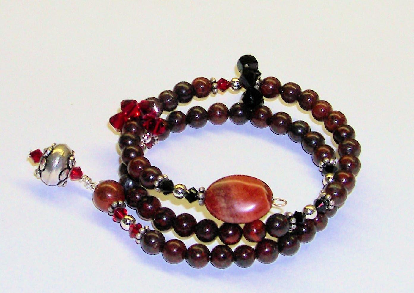 Knitting Row Counter Bracelet : Row counter bracelet for knitting or crochet brecciated jasper