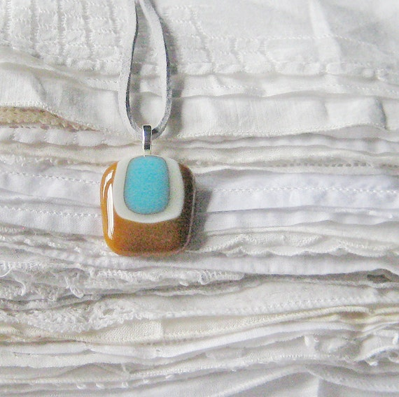 Toffee n Blue Pendant Necklace, Handmade Fused Glass Modern Pendant