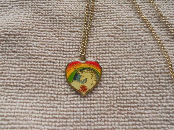 1980 unicorn rainbow necklace