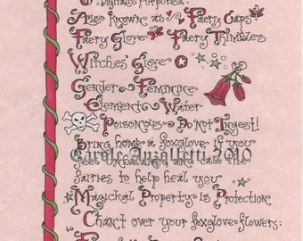 Foxglove Art Parchment Magick & Properties BoS Style