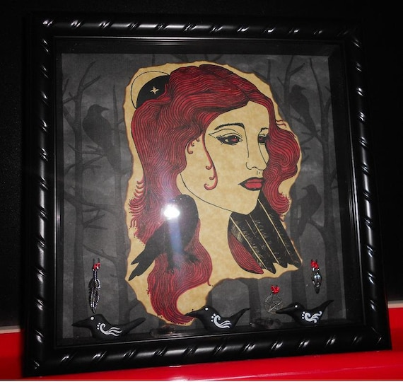Queen of the Ravens Large Shadow Box with Two Raven Parchments RESERVED for dragonintherain