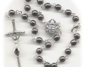 Hematite Colored Czech Glass Auto Rosary