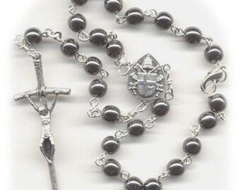 Hematite Colored Czech Glass Auto Rosary