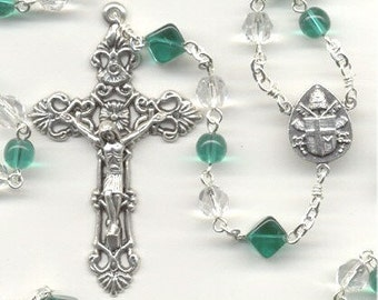 May Birthstone Rosary ~ Emerald Green