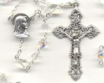 April Birthstone Rosary ~ Diamond Glass
