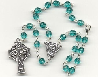 Teal Czech Glass Fire Polished Auto Rosary (Other colors available)