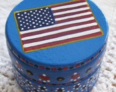 Hand Painted Love Boxes American Flag Box Blue Wood