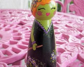 Hand Painted Love Boxes Halloween Witch Peg Doll