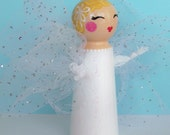 Hand Painted Love Boxes Guardian Angel Fairy White Peg Doll Wood