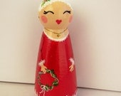 Hand Painted Love Boxes Mrs Santa Claus Christmas Peg Doll Wood