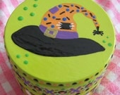 Hand Painted Love Boxes Halloween Witch Hat Green Box