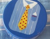 Fathers Day Hand Painted Shirt and Tie Trinket Box Wood