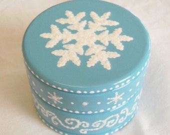 Hand Painted Love Boxes Snowflake Trinket Box Wood
