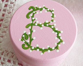 Hand Painted Love Boxes Custom Monogram Trinket Box Wood