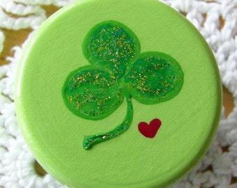 Hand Painted Love Box Green Clover Heart box wood