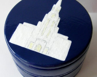 Hand Painted Love Boxes Bountiful Temple Box Navy Blue Wood