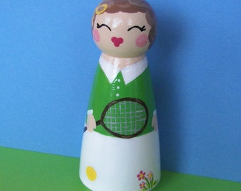 Hand Painted Love Boxes Custom Tennis Player Doll Cake Topper
