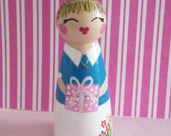 Hand Painted Love Boxes Happy Birthday Girl custom Peg Doll Wood