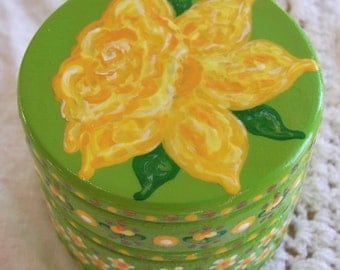 Hand Painted Love Boxes Yellow Daffodil Green Box Wood