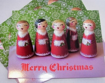 Hand Painted Love Boxes Carolers Christmas Red Green Pink Postcard 10 pack