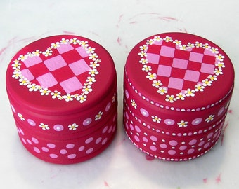 Hand Painted Love boxes Red Valentine Box Wood Custom