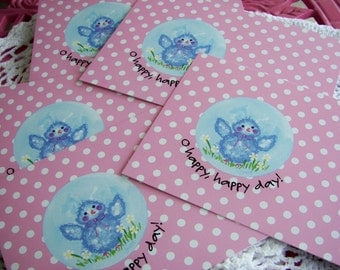 Hand Painted Love Boxes Bluebird Postcard Pack 5