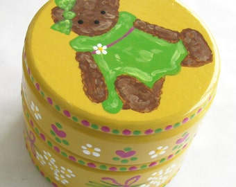 Hand Painted Love Boxes Yellow Teddy Bear Box Wood