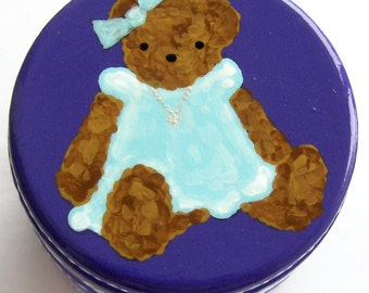 Hand Painted Love Boxes Teddy Bear Aqua Dress Purple Box Wood