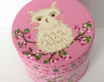 Large Size Custom Owl Trinket Box Wood