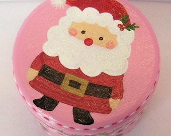 Hand Painted Love Boxes Christmas Pink Santa Claus Box Wood